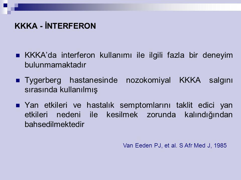 KKKA - İNTERFERON KKKA'da interferon kullanımı ile ilgili fazla bir deneyim bulunmamaktadır Tygerberg hastanesinde nozokomiyal KKKA salgını sırasında