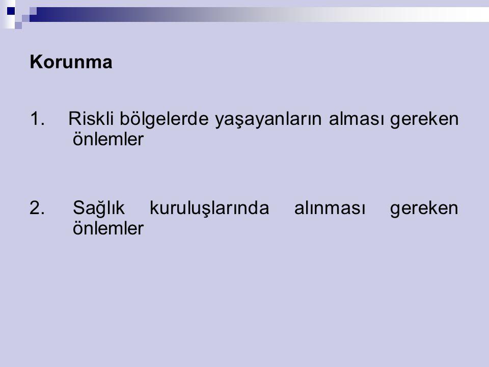 Korunma 1. Riskli bölgelerde yaşayanların alması gereken önlemler 2. Sağlık kuruluşlarında alınması gereken önlemler