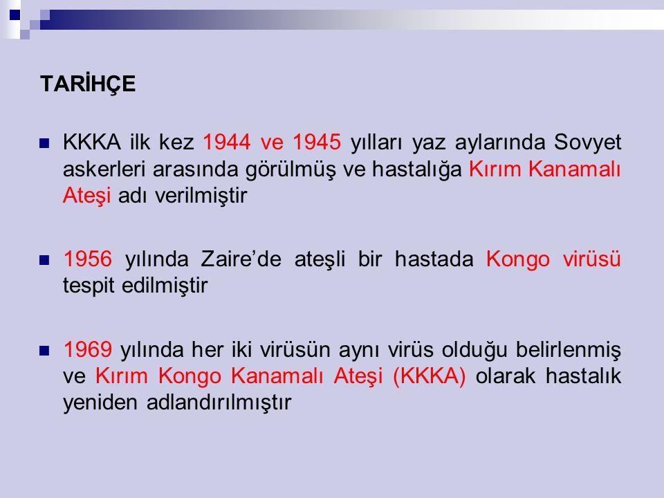 TARİHÇE KKKA ilk kez 1944 ve 1945 yılları yaz aylarında Sovyet askerleri arasında görülmüş ve hastalığa Kırım Kanamalı Ateşi adı verilmiştir 1956 yılı