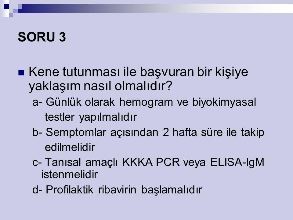 SORU 3 Kene tutunması ile başvuran bir kişiye yaklaşım nasıl olmalıdır? a- Günlük olarak hemogram ve biyokimyasal testler yapılmalıdır b- Semptomlar a