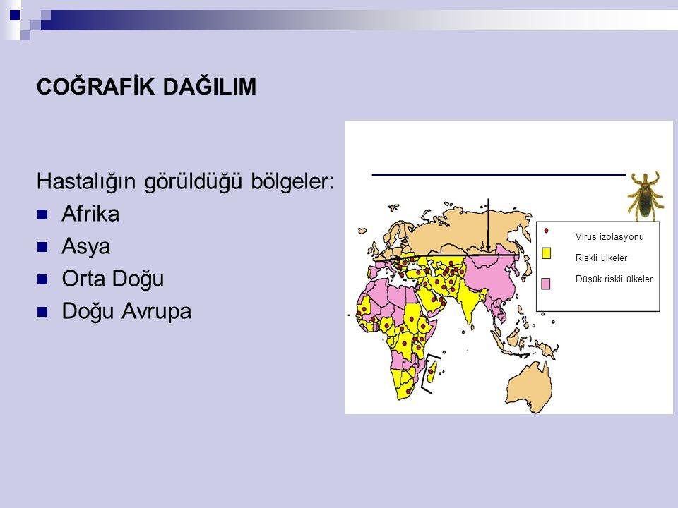 COĞRAFİK DAĞILIM Hastalığın görüldüğü bölgeler: Afrika Asya Orta Doğu Doğu Avrupa Virüs izolasyonu Riskli ülkeler Düşük riskli ülkeler