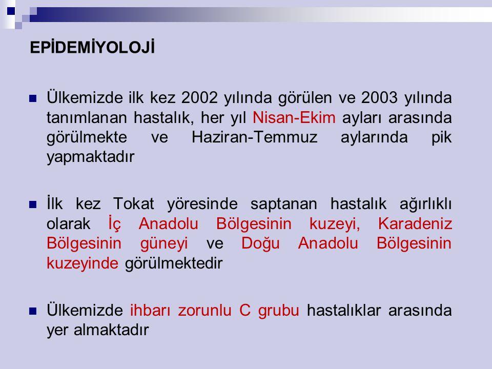 ÜLKEMİZDE COĞRAFİK DAĞILIM Yoğun olarak görüldüğü iller: Erzurum, Erzincan, Gümüşhane Bayburt, Tokat, Yozgat, Sivas Amasya, Çorum,Çankırı, Bolu Kastamonu ve Karabük