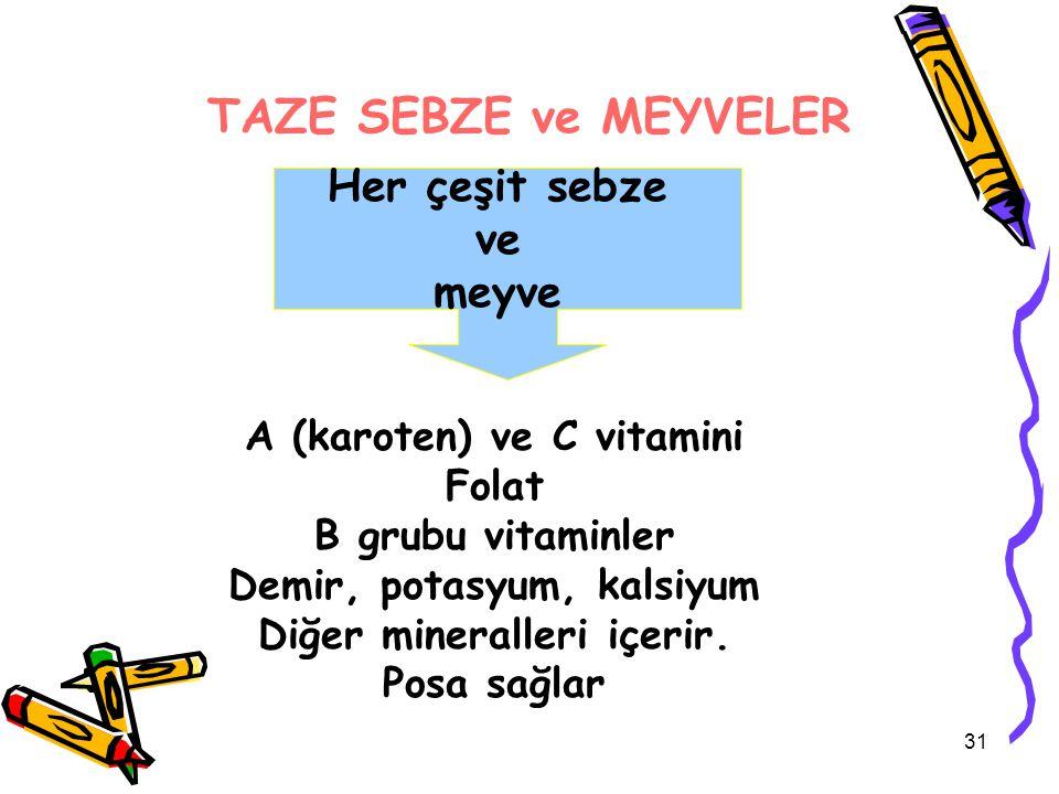 TAZE SEBZE ve MEYVELER Her çeşit sebze ve meyve A (karoten) ve C vitamini Folat B grubu vitaminler Demir, potasyum, kalsiyum Diğer mineralleri içerir.