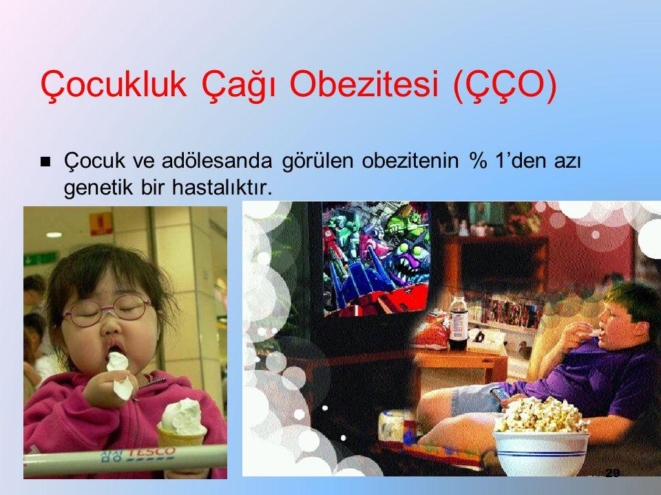 Çocukluk Çağı Obezitesi (ÇÇO) Çocuk ve adölesanda görülen obezitenin % 1'den azı genetik bir hastalıktır. 29