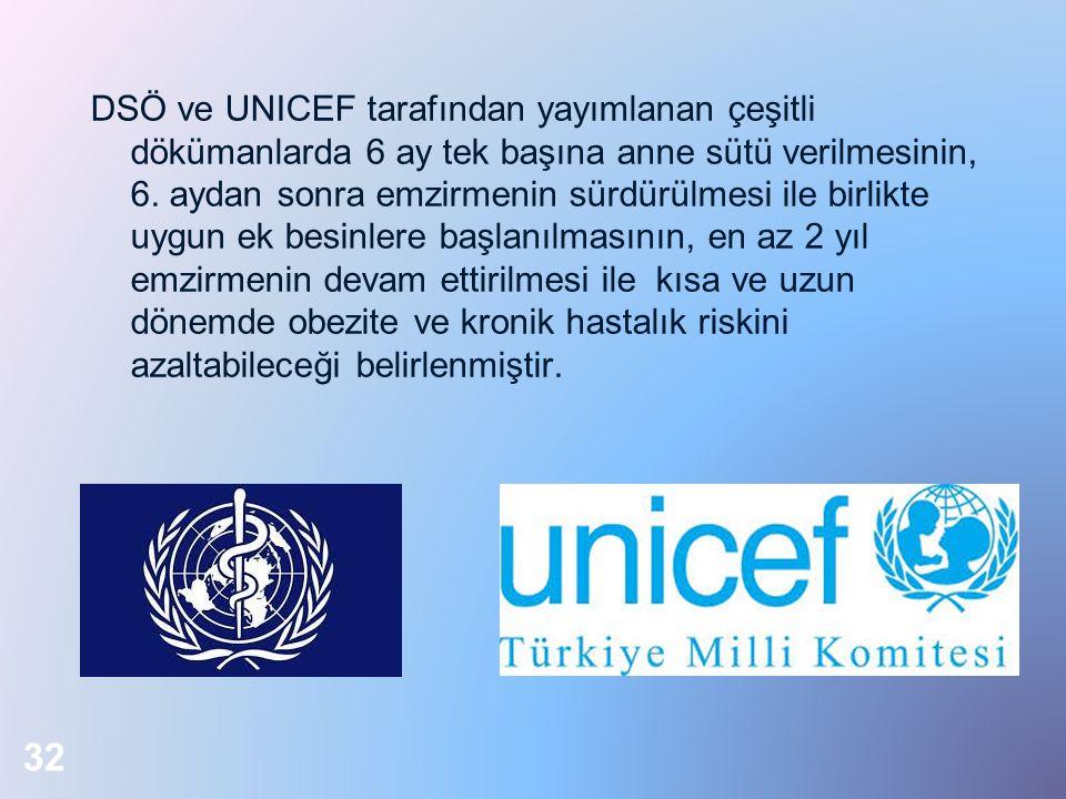 DSÖ ve UNICEF tarafından yayımlanan çeşitli dökümanlarda 6 ay tek başına anne sütü verilmesinin, 6. aydan sonra emzirmenin sürdürülmesi ile birlikte u