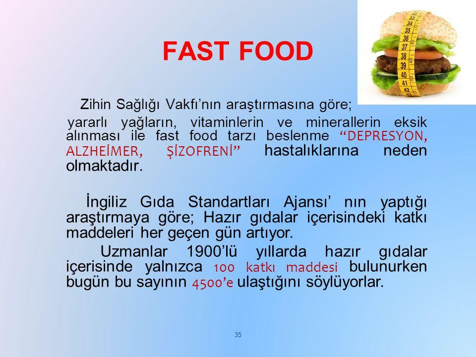 """Zihin Sağlığı Vakfı'nın araştırmasına göre; yararlı yağların, vitaminlerin ve minerallerin eksik alınması ile fast food tarzı beslenme """"DEPRESYON, ALZ"""