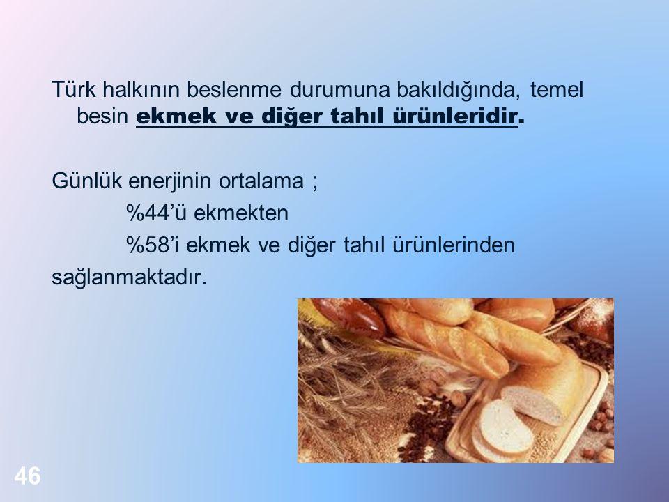 Türk halkının beslenme durumuna bakıldığında, temel besin ekmek ve diğer tahıl ürünleridir. Günlük enerjinin ortalama ; %44'ü ekmekten %58'i ekmek ve