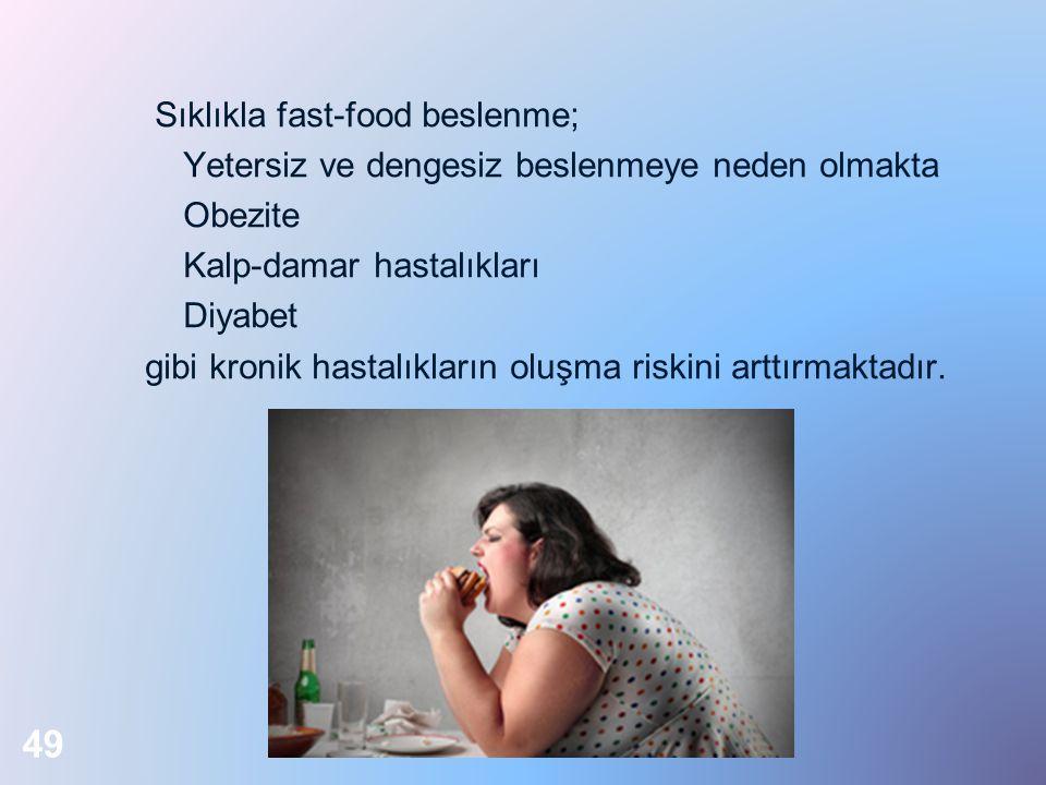 Sıklıkla fast-food beslenme; Yetersiz ve dengesiz beslenmeye neden olmakta Obezite Kalp-damar hastalıkları Diyabet gibi kronik hastalıkların oluşma ri