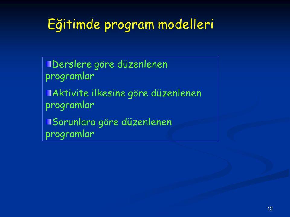 12 Eğitimde program modelleri Derslere göre düzenlenen programlar Aktivite ilkesine göre düzenlenen programlar Sorunlara göre düzenlenen programlar
