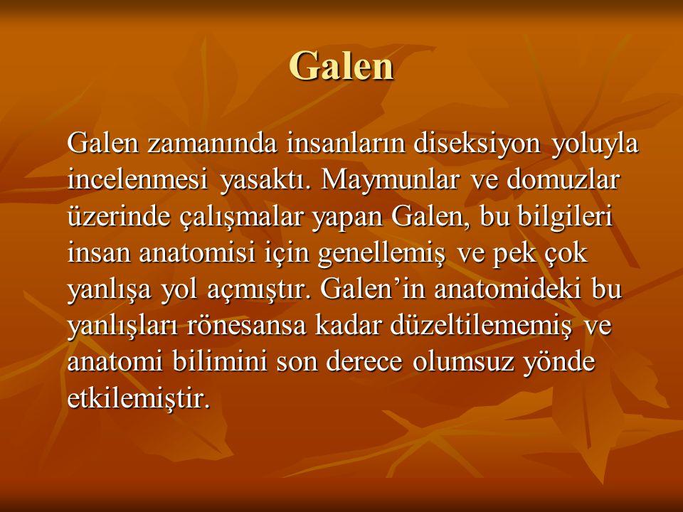 Galen Galen zamanında insanların diseksiyon yoluyla incelenmesi yasaktı. Maymunlar ve domuzlar üzerinde çalışmalar yapan Galen, bu bilgileri insan ana