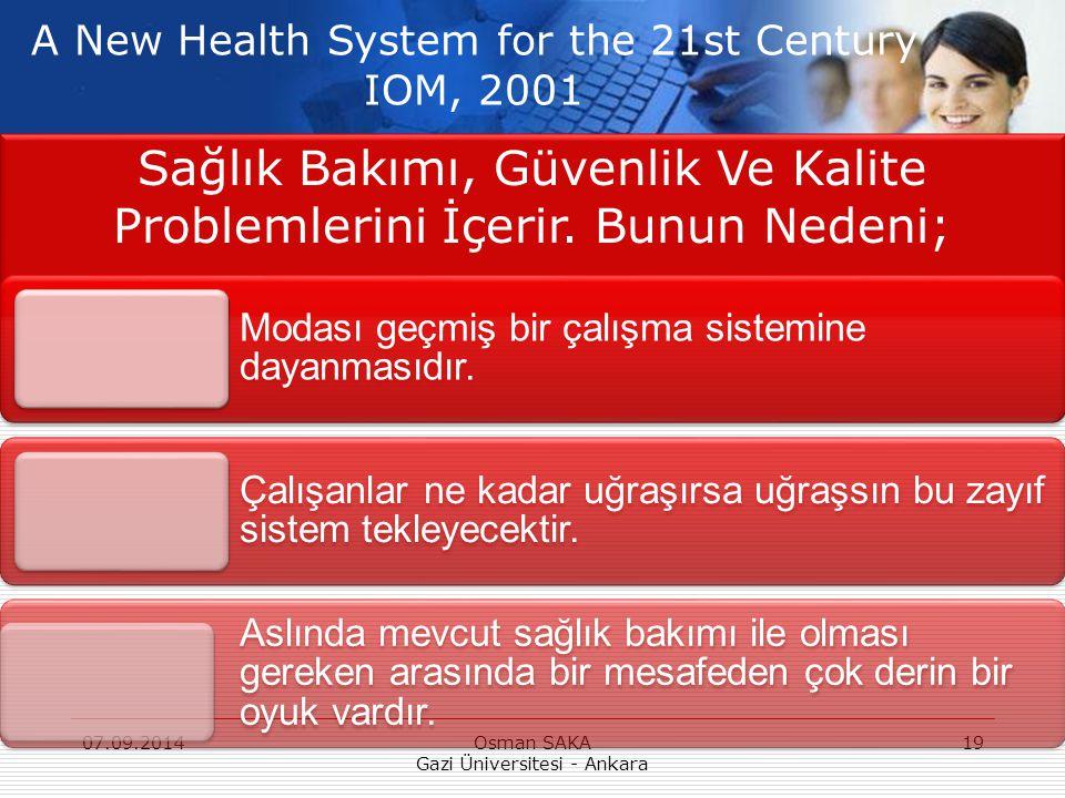 Sağlık Bakımı, Güvenlik Ve Kalite Problemlerini İçerir. Bunun Nedeni; 07.09.2014Osman SAKA Gazi Üniversitesi - Ankara 19 Modası geçmiş bir çalışma sis
