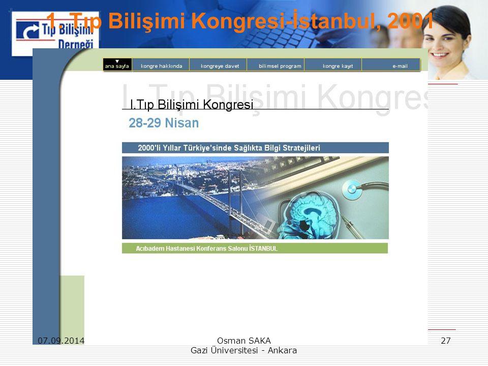 07.09.2014Osman SAKA Gazi Üniversitesi - Ankara 27 1. Tıp Bilişimi Kongresi-İstanbul, 2001