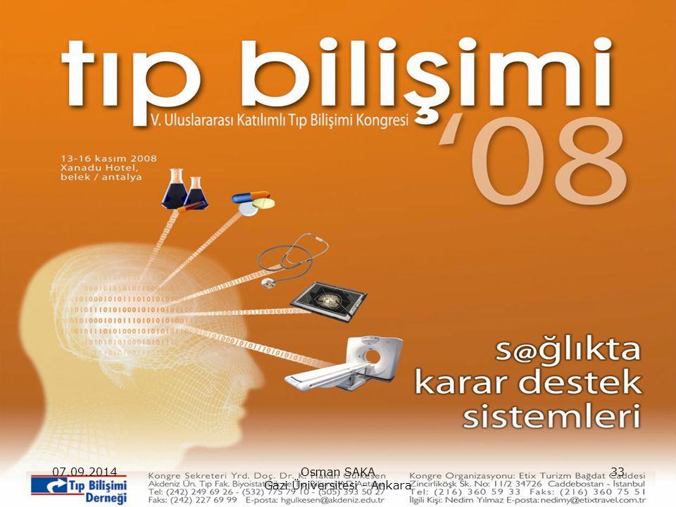 07.09.2014Osman SAKA Gazi Üniversitesi - Ankara 33