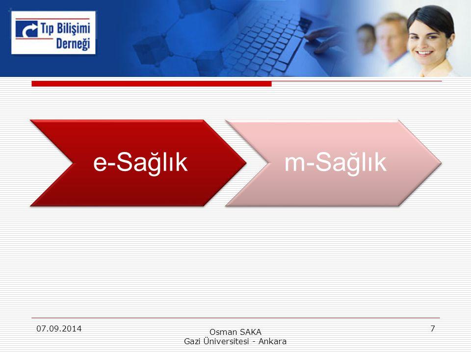 e-Sağlıkm-Sağlık 07.09.2014 Osman SAKA Gazi Üniversitesi - Ankara 7