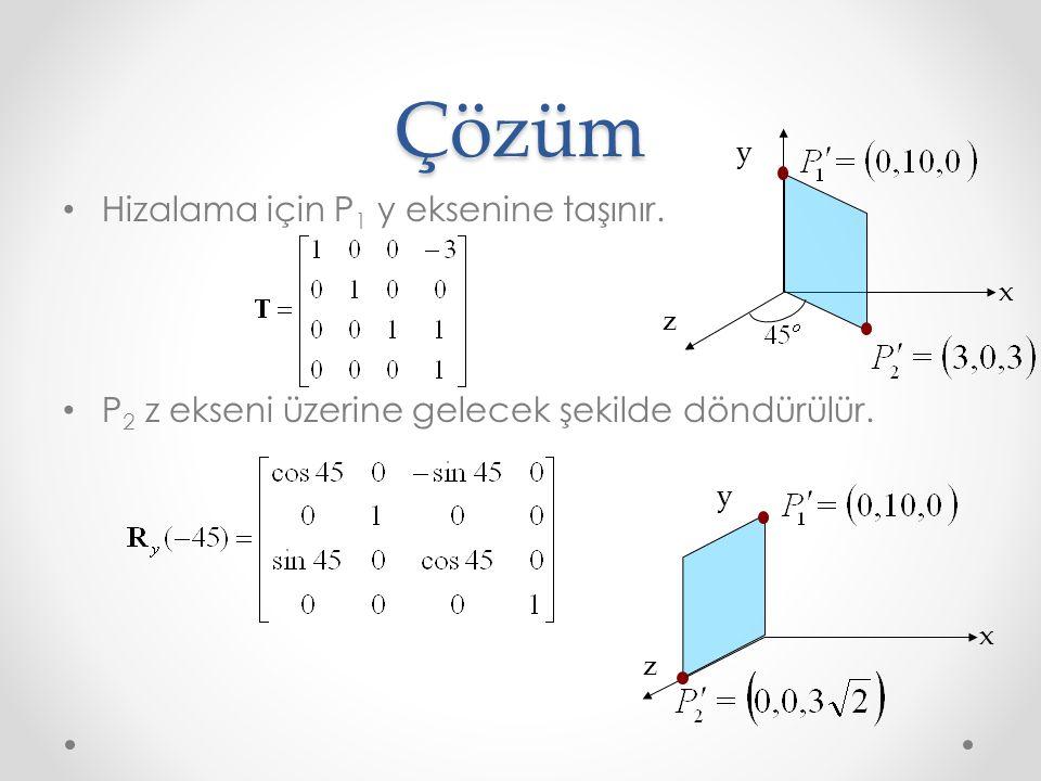 Çözüm Hizalama için P 1 y eksenine taşınır. P 2 z ekseni üzerine gelecek şekilde döndürülür. z y x z y x