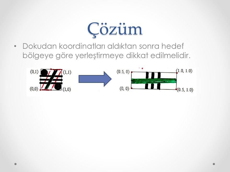 Çözüm Dokudan koordinatları aldıktan sonra hedef bölgeye göre yerleştirmeye dikkat edilmelidir.