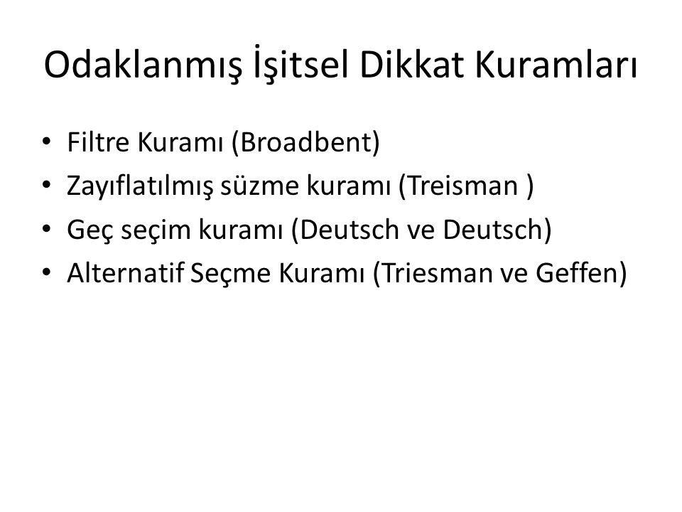 Odaklanmış İşitsel Dikkat Kuramları Filtre Kuramı (Broadbent) Zayıflatılmış süzme kuramı (Treisman ) Geç seçim kuramı (Deutsch ve Deutsch) Alternatif Seçme Kuramı (Triesman ve Geffen)