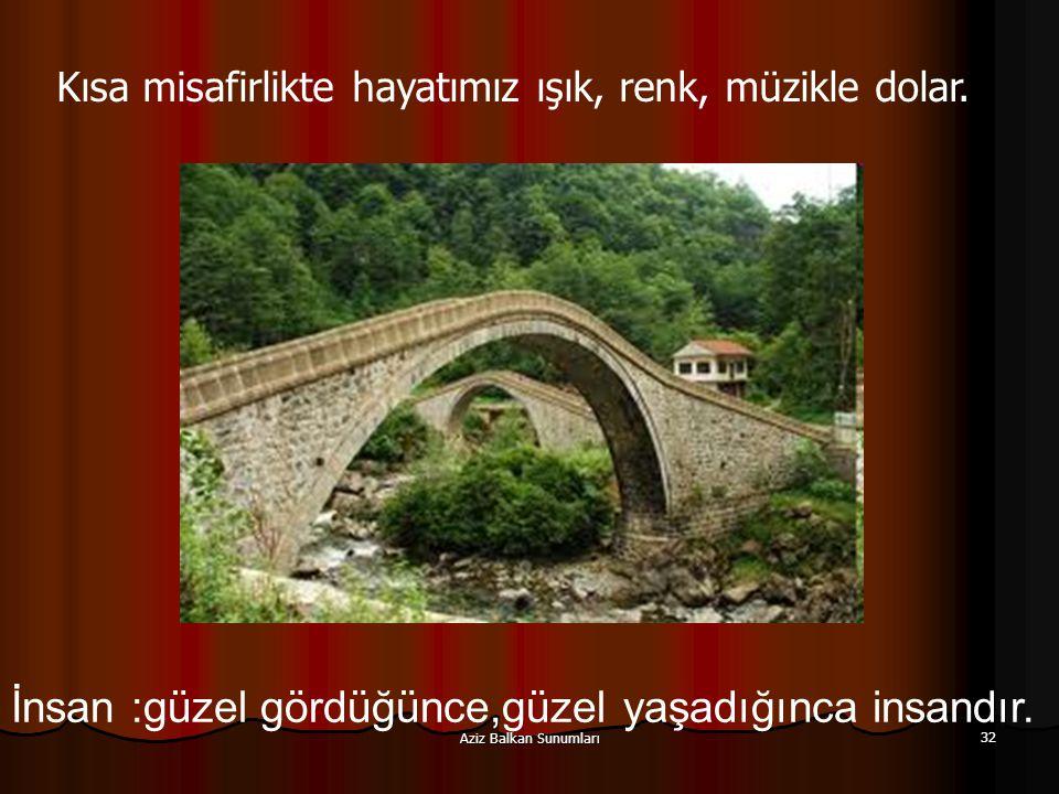 Aziz Balkan Sunumları 32 İnsan :güzel gördüğünce,güzel yaşadığınca insandır. Kısa misafirlikte hayatımız ışık, renk, müzikle dolar.