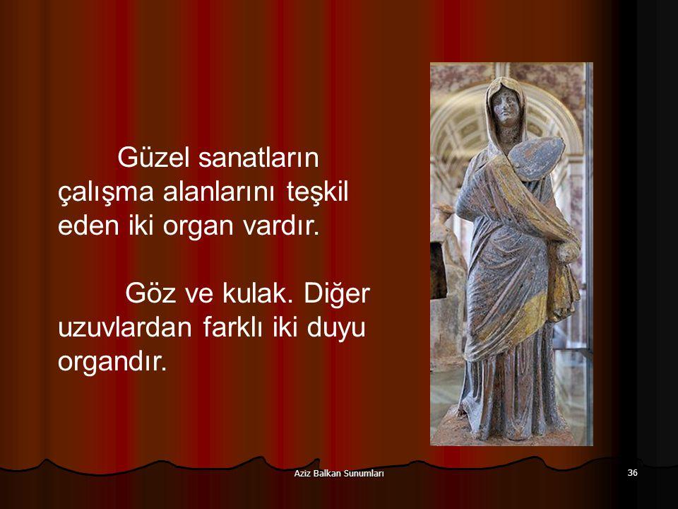 Aziz Balkan Sunumları 36 Güzel sanatların çalışma alanlarını teşkil eden iki organ vardır. Göz ve kulak. Diğer uzuvlardan farklı iki duyu organdır.