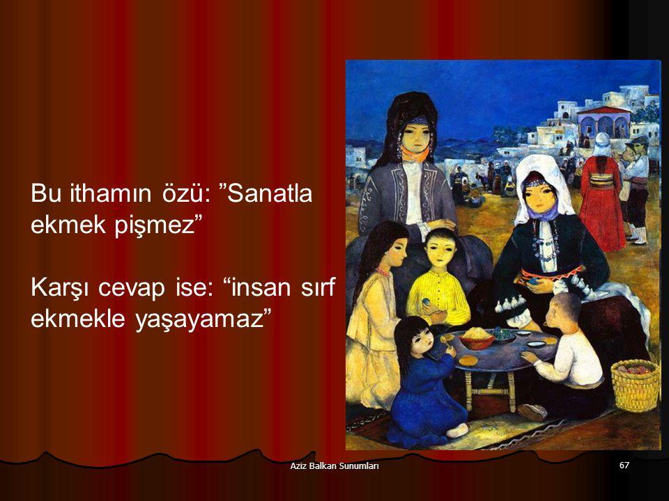 """Aziz Balkan Sunumları 67 Bu ithamın özü: """"Sanatla ekmek pişmez"""" Karşı cevap ise: """"insan sırf ekmekle yaşayamaz"""""""