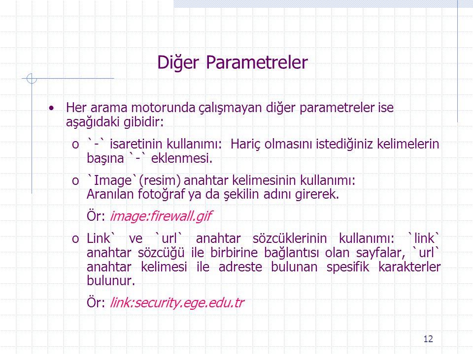 12 Diğer Parametreler Her arama motorunda çalışmayan diğer parametreler ise aşağıdaki gibidir: o`-` isaretinin kullanımı: Hariç olmasını istediğiniz k
