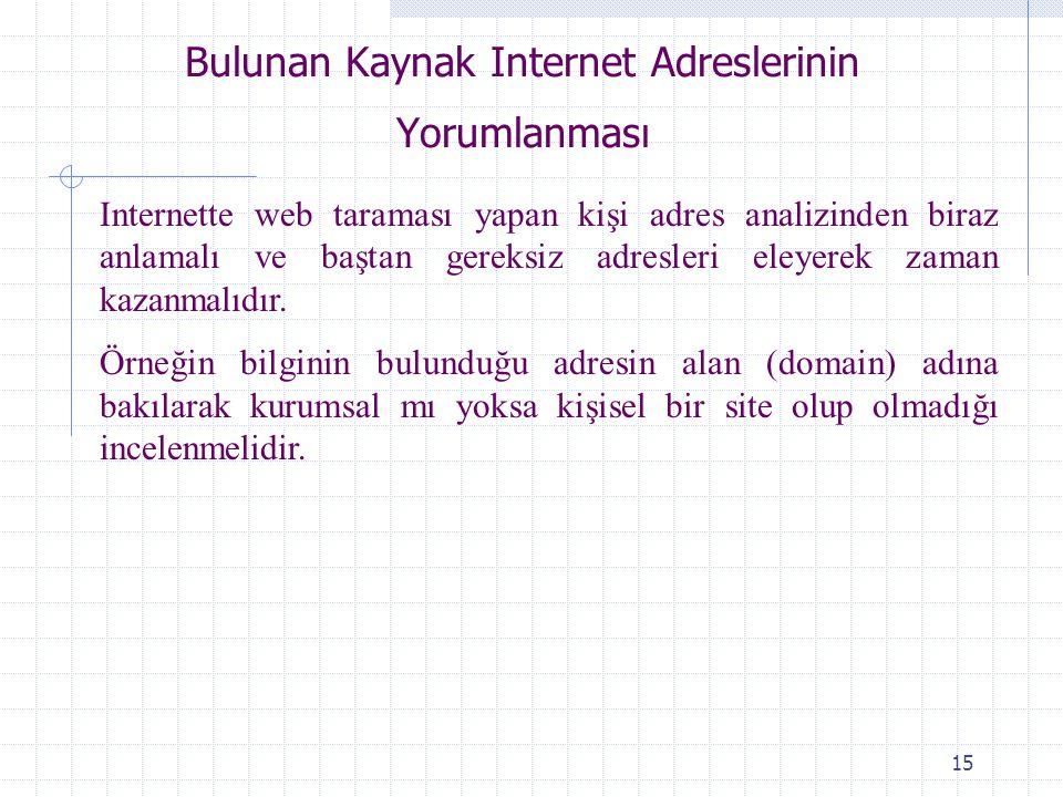 15 Bulunan Kaynak Internet Adreslerinin Yorumlanması Internette web taraması yapan kişi adres analizinden biraz anlamalı ve baştan gereksiz adresleri