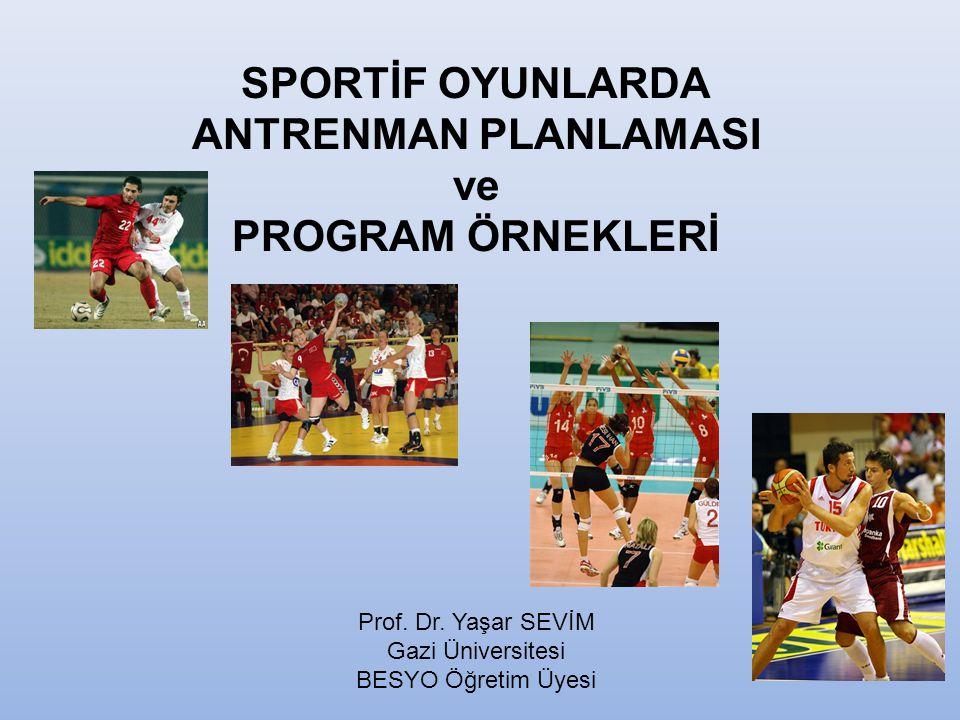 SPORTİF OYUNLARDA ANTRENMAN PLANLAMASI ve PROGRAM ÖRNEKLERİ Prof.