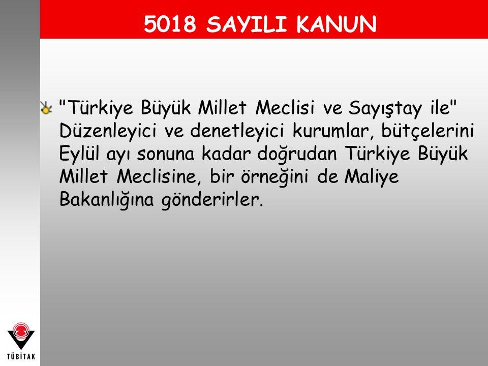 5018 SAYILI KANUN Türkiye Büyük Millet Meclisi ve Sayıştay ile Düzenleyici ve denetleyici kurumlar, bütçelerini Eylül ayı sonuna kadar doğrudan Türkiye Büyük Millet Meclisine, bir örneğini de Maliye Bakanlığına gönderirler.