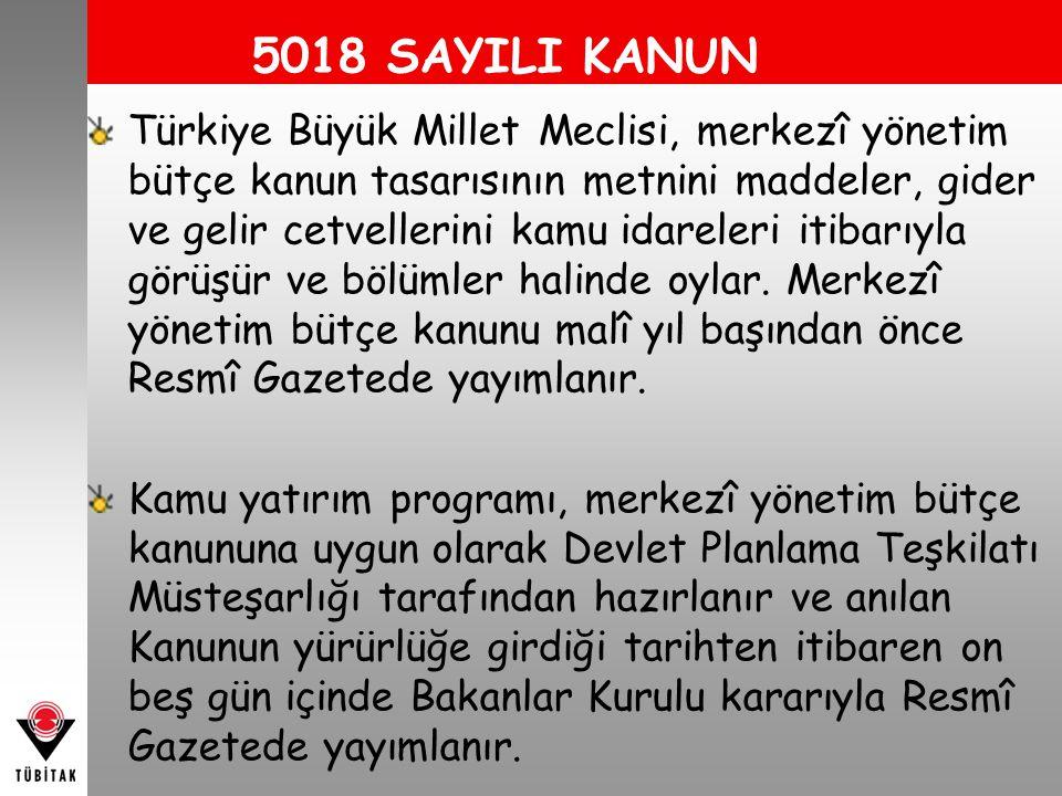 5018 SAYILI KANUN Türkiye Büyük Millet Meclisi, merkezî yönetim bütçe kanun tasarısının metnini maddeler, gider ve gelir cetvellerini kamu idareleri itibarıyla görüşür ve bölümler halinde oylar.