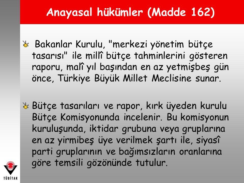 Bakanlar Kurulu, merkezi yönetim bütçe tasarısı ile millî bütçe tahminlerini gösteren raporu, malî yıl başından en az yetmişbeş gün önce, Türkiye Büyük Millet Meclisine sunar.
