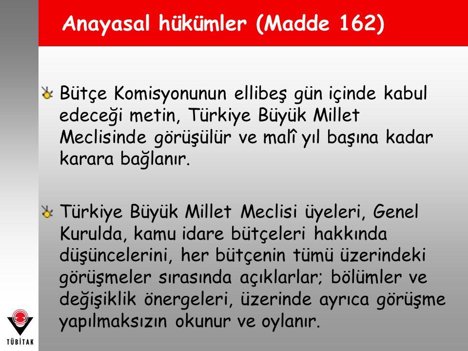 Türkiye Büyük Millet Meclisi üyeleri, bütçe kanunu tasarılarının Genel Kurulda görüşülmesi sırasında, gider artırıcı veya gelirleri azaltıcı önerilerde bulunamazlar.