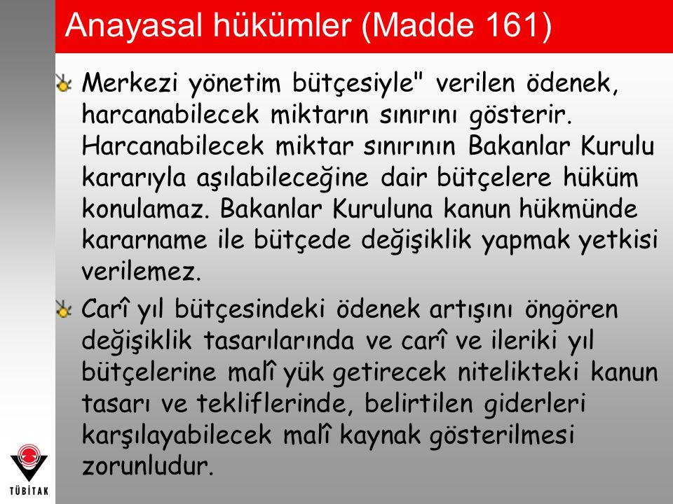 5018 SAYILI KANUN Merkezî yönetim bütçe kanun tasarısına, Türkiye Büyük Millet Meclisinde görüşülmesi sırasında dikkate alınmak üzere; a) Orta vadeli malî planı da içeren bütçe gerekçesi, b) Yıllık ekonomik rapor, c) Vergi muafiyeti, istisnası ve indirimleri ile benzeri uygulamalar nedeniyle vazgeçilen kamu gelirleri cetveli, d) Kamu borç yönetimi raporu, e) Genel yönetim kapsamındaki kamu idarelerinin son iki yıla ait bütçe gerçekleşmeleri ile izleyen iki yıla ait gelir ve gider tahminleri, f) Mahallî idareler ve sosyal güvenlik kurumlarının bütçe tahminleri, h) Merkezî yönetim kapsamında olmayıp, merkezî yönetim bütçesinden yardım alan kamu idareleri ile diğer kurum ve kuruluşların listesi, Eklenir.