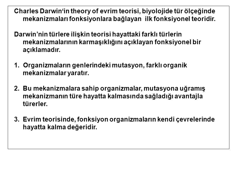 Charles Darwin'in theory of evrim teorisi, biyolojide tür ölçeğinde mekanizmaları fonksiyonlara bağlayan ilk fonksiyonel teoridir.