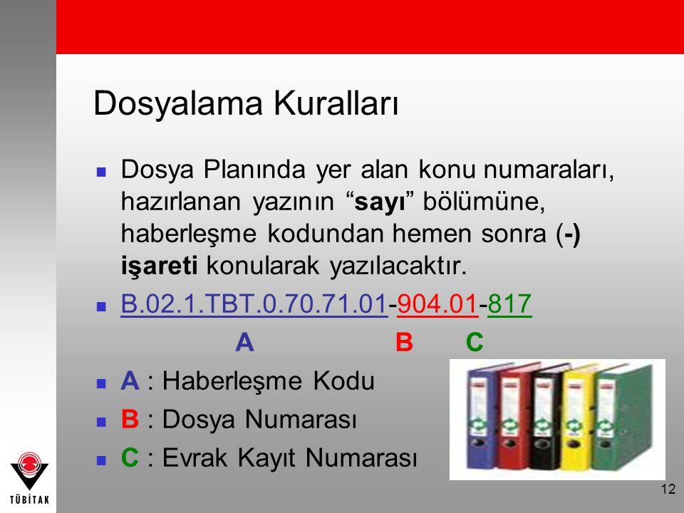 12 Dosyalama Kuralları Dosya Planında yer alan konu numaraları, hazırlanan yazının sayı bölümüne, haberleşme kodundan hemen sonra (-) işareti konularak yazılacaktır.