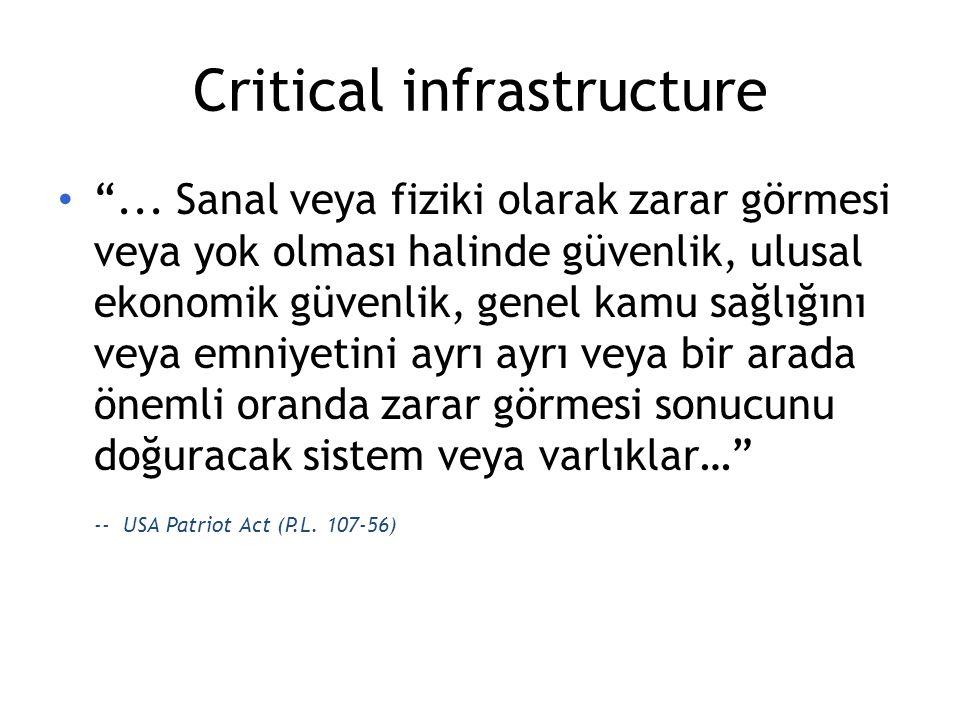 """Critical infrastructure """"... Sanal veya fiziki olarak zarar görmesi veya yok olması halinde güvenlik, ulusal ekonomik güvenlik, genel kamu sağlığını v"""