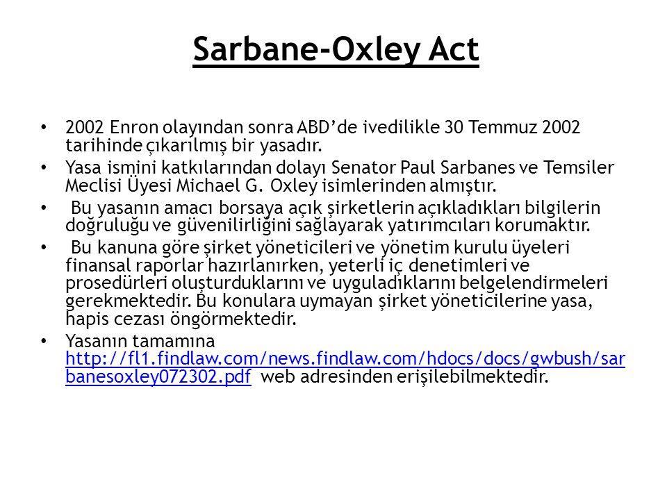 2002 Enron olayından sonra ABD'de ivedilikle 30 Temmuz 2002 tarihinde çıkarılmış bir yasadır. Yasa ismini katkılarından dolayı Senator Paul Sarbanes v