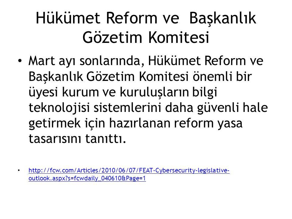 Hükümet Reform ve Başkanlık Gözetim Komitesi Mart ayı sonlarında, Hükümet Reform ve Başkanlık Gözetim Komitesi önemli bir üyesi kurum ve kuruluşların