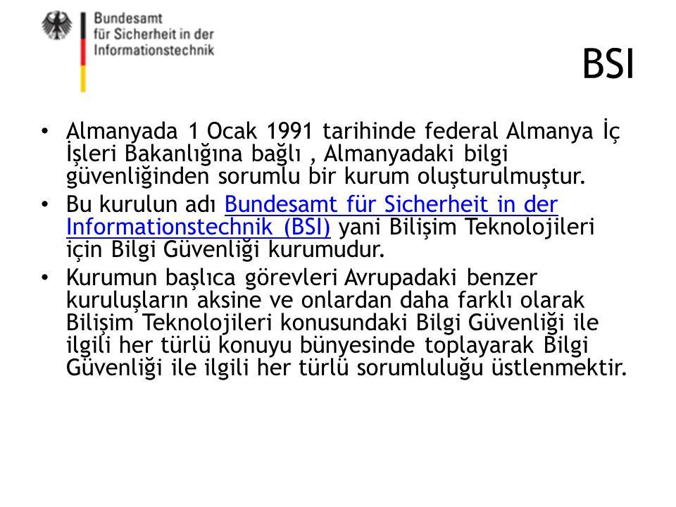 BSI Almanyada 1 Ocak 1991 tarihinde federal Almanya İç İşleri Bakanlığına bağlı, Almanyadaki bilgi güvenliğinden sorumlu bir kurum oluşturulmuştur. Bu
