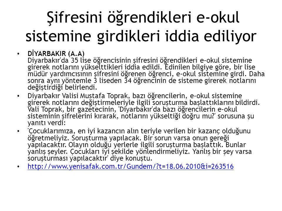 Şifresini öğrendikleri e-okul sistemine girdikleri iddia ediliyor DİYARBAKIR (A.A) Diyarbakır'da 35 lise öğrencisinin şifresini öğrendikleri e-okul si