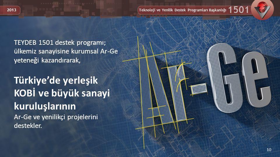 Teknoloji ve Yenilik Destek Programları Başkanlığı 1501 2013 10 TEYDEB 1501 destek programı; ülkemiz sanayisine kurumsal Ar-Ge yeteneği kazandırarak, Türkiye'de yerleşik KOBİ ve büyük sanayi kuruluşlarının Ar-Ge ve yenilikçi projelerini destekler.