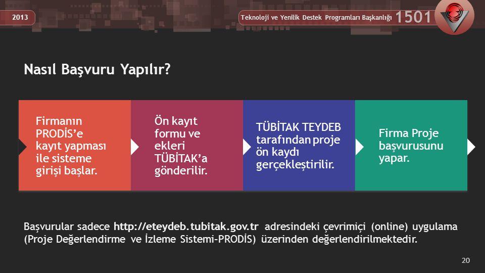 Teknoloji ve Yenilik Destek Programları Başkanlığı 1501 2013 20 Başvurular sadece http://eteydeb.tubitak.gov.tr adresindeki çevrimiçi (online) uygulama (Proje Değerlendirme ve İzleme Sistemi–PRODİS) üzerinden değerlendirilmektedir.
