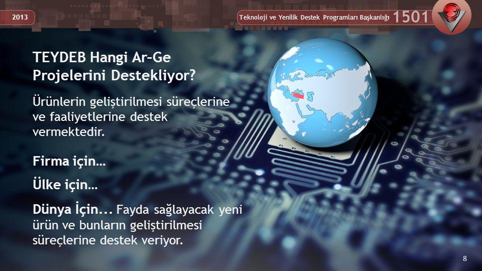 Teknoloji ve Yenilik Destek Programları Başkanlığı 1501 2013 8 Ürünlerin geliştirilmesi süreçlerine ve faaliyetlerine destek vermektedir.