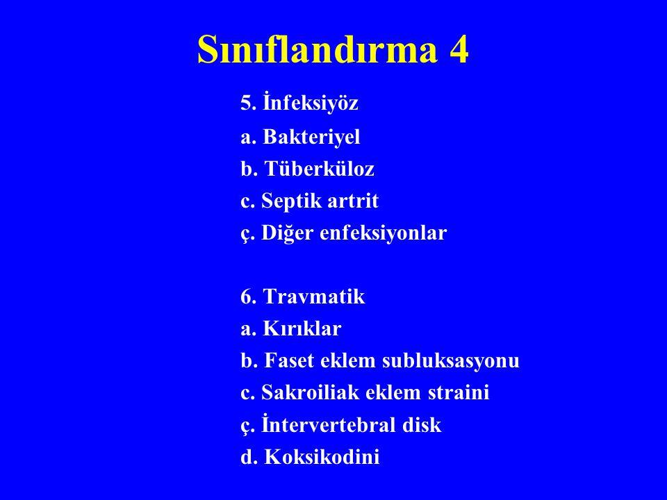 Sınıflandırma 4 5.İnfeksiyöz a. Bakteriyel b. Tüberküloz c.