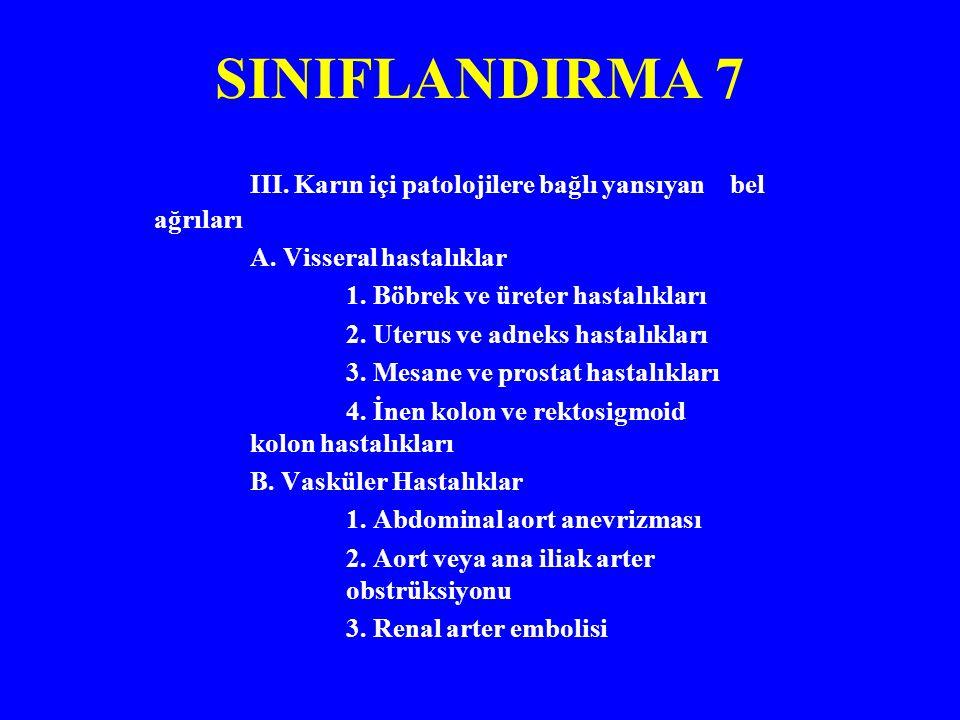 SINIFLANDIRMA 7 III.Karın içi patolojilere bağlı yansıyan bel ağrıları A.