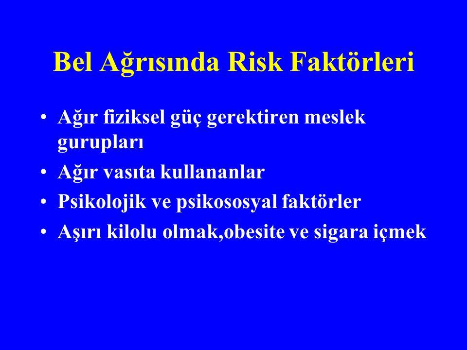 Bel Ağrısında Risk Faktörleri Ağır fiziksel güç gerektiren meslek gurupları Ağır vasıta kullananlar Psikolojik ve psikososyal faktörler Aşırı kilolu olmak,obesite ve sigara içmek