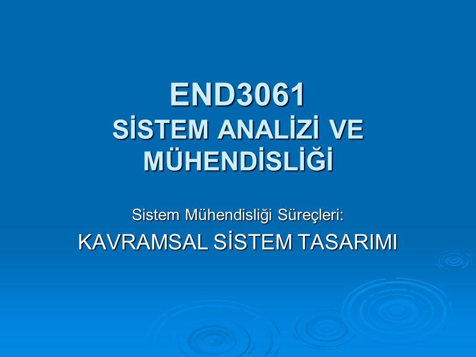 END3061 SİSTEM ANALİZİ VE MÜHENDİSLİĞİ Sistem Mühendisliği Süreçleri: KAVRAMSAL SİSTEM TASARIMI