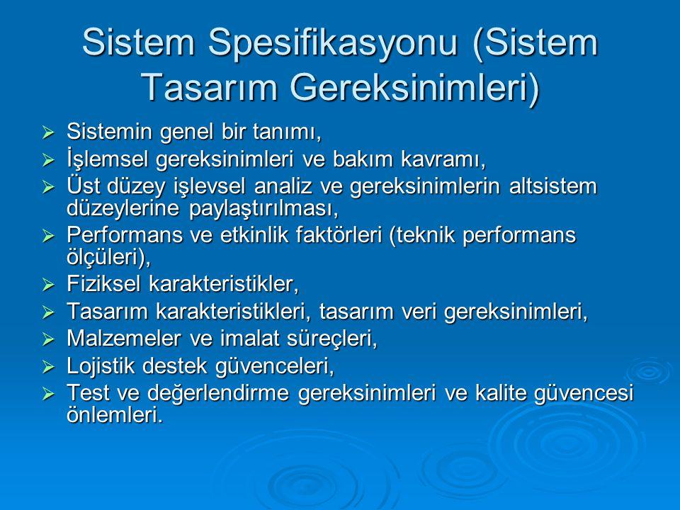 Sistem Spesifikasyonu (Sistem Tasarım Gereksinimleri)  Sistemin genel bir tanımı,  İşlemsel gereksinimleri ve bakım kavramı,  Üst düzey işlevsel an