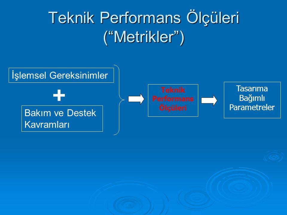 """Teknik Performans Ölçüleri (""""Metrikler"""") İşlemsel Gereksinimler Bakım ve Destek Kavramları Teknik Performans Ölçüleri Tasarıma Bağımlı Parametreler"""