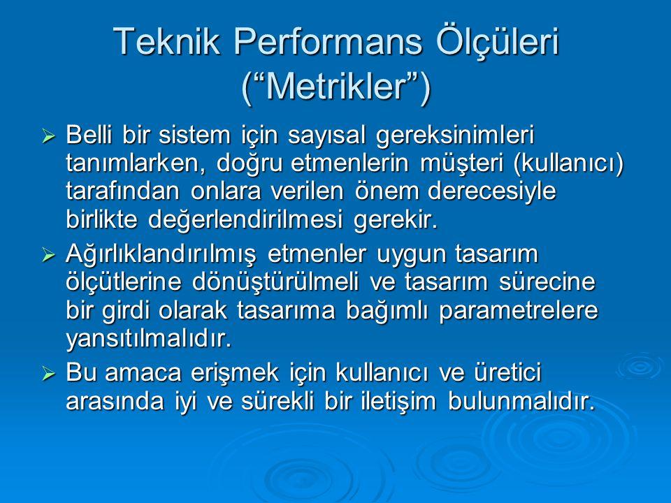 """Teknik Performans Ölçüleri (""""Metrikler"""")  Belli bir sistem için sayısal gereksinimleri tanımlarken, doğru etmenlerin müşteri (kullanıcı) tarafından o"""
