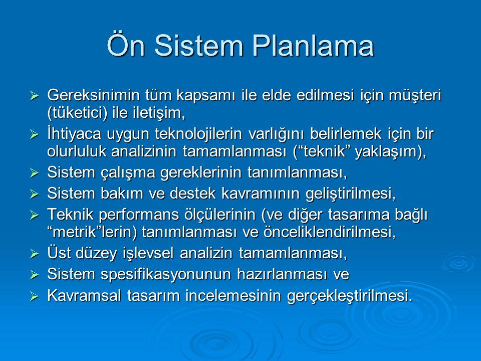 Ön Sistem Planlama  Gereksinimin tüm kapsamı ile elde edilmesi için müşteri (tüketici) ile iletişim,  İhtiyaca uygun teknolojilerin varlığını belirl